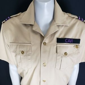 Cavi Mens Military Khaki Button Shirt Size XL